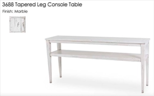 3688 Tapered Leg Console Table finished in Marble