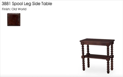 3881 Spool Leg Side Table finished in Old World