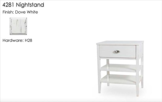 4281 Nightstand finished in Dove White