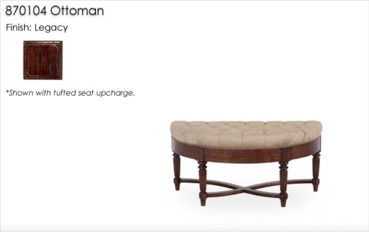 870104 Ottoman finished in Legacy with tufted seat upcharge