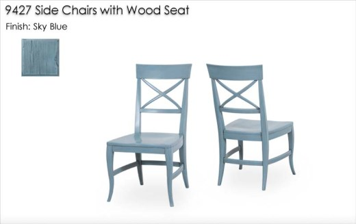9427 Side Chairs with wood seat finished in Sky Blue