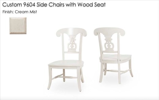 Custom 9604 Side Chairs with wood seat finished in Cream Mist