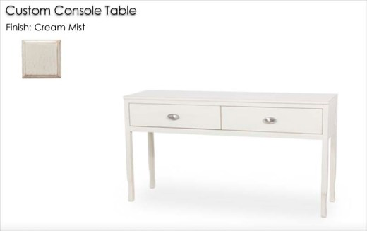 Custom Console Table finished in Cream Mist
