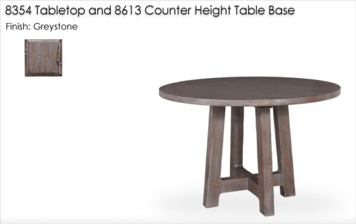8354 Tabletop and 8613 Counter Height Table Base finished in Greystone