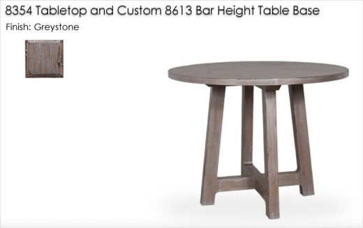 8354 Tabletop and Custom 8613 Bar Height Table Base finished in Greystone