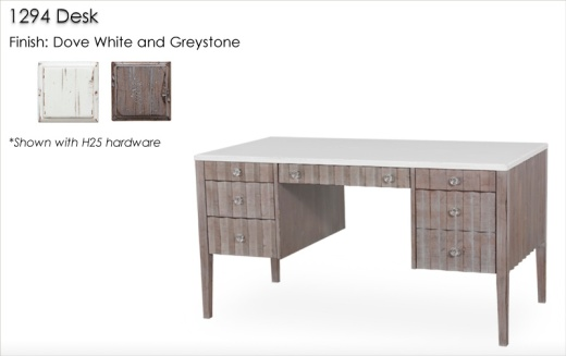 1294 Desk finished in Dove White and Greystone