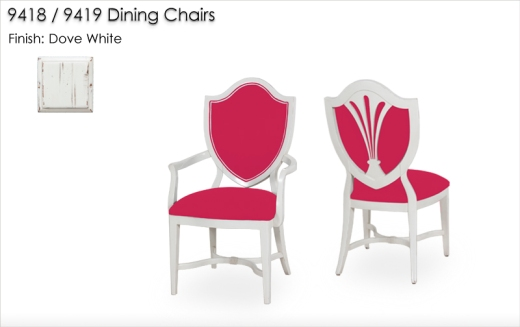 9418 / 9419 Dining Chairs finished in Dove White