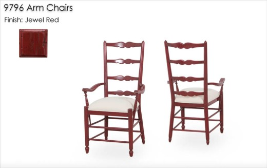 9796 Arm Chairs finished in Jewel Red