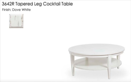3642R Round Cocktail Table finished in Dove White