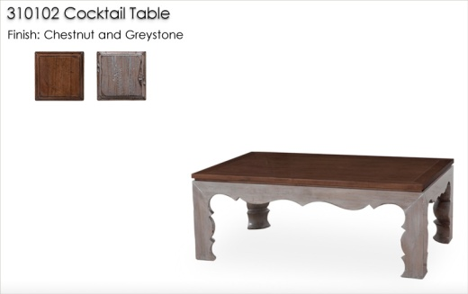 310102 Cocktail Table finished in Chestnut and Greystone