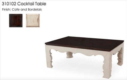 310102 Cocktail Table finished in Cafe and Bordelais