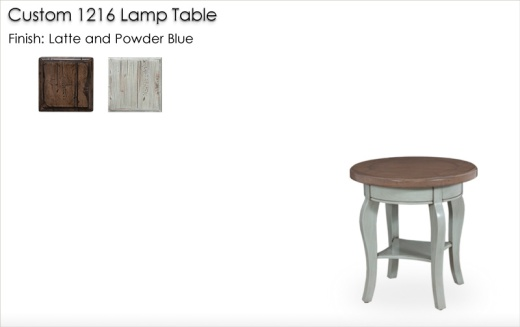Custom 1216 Lamp Table finished Latte and Powder Blue
