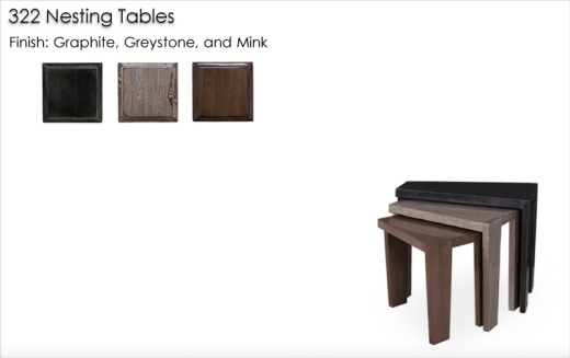322 Nesting Tables finished in Graphite, Greystone, and Mink