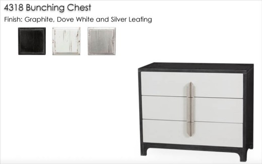 4318 Bunching Chest finished in Graphite, Dove White, and Silver   Leafing