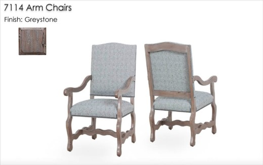 7114 Arm Chairs finished in Greystone
