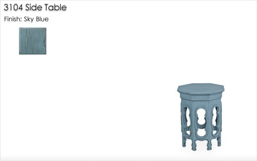 3104 Side Table finished in Sky Blue