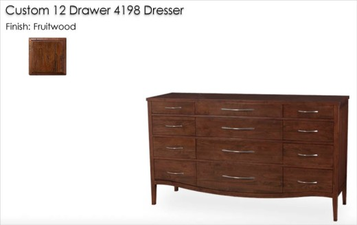 Custom 12 Drawer 4198 Dresser finished in Fruitwood