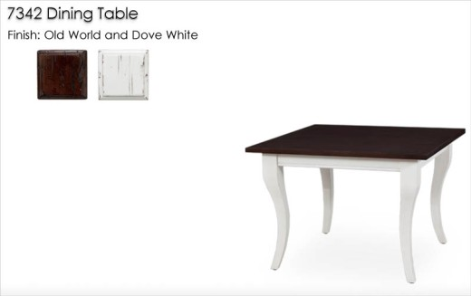 7342 Dining Table finished in Old World and Dove White