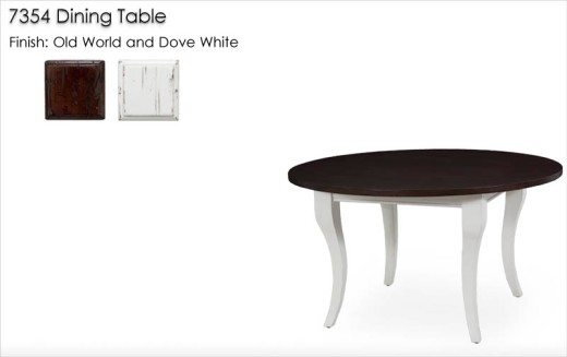 7354 Dining Table finished in Old World and Dove White