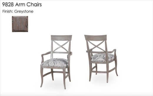 9828 Arm Chairs finished in Greystone