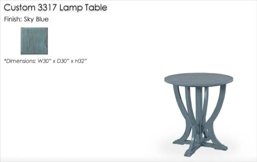 Custom 3317 Lamp Table finished in Sky Blue