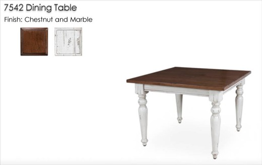 7542 Dining Table finished in Chestnut and Marble