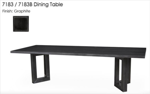 7183/7183B Dining Table finished in Graphite