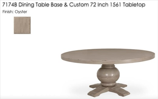 Lorts 7174B DIning Table Base and Custom 72 Inch 1561 DIning Tabletop   finished in Oyster