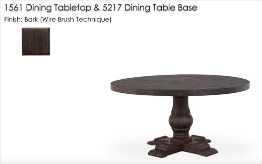 1561 DIning Tabletop and 5217 Dining Table Base finished in Bark