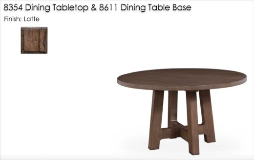 8354 / 8811 Dining Table finished in Latte