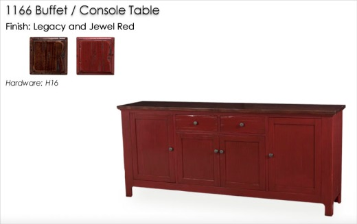 1166 Buffet / Console Table finished in Legacy and Jewel Red