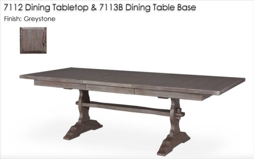 7112 / 7113B Dining Table finished in Greystone