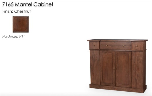 Lorts 7165 Mantel Cabinet finished in Chestnut