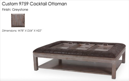 Lorts Custom 9759 Ottoman finished in Greystone