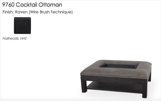 Lorts 9760 Cocktail Ottoman finished in Raven
