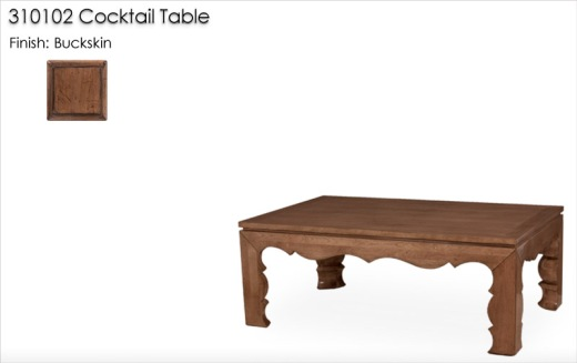310102 Cocktail Table finished in Buckskin
