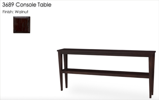 3689 Tapered Leg Narrow Depth Console Table finished in Walnut