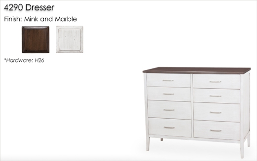 Lorts Custom Dresser finished in Dove White * 4290 Dresser finshed in Mink and Marble