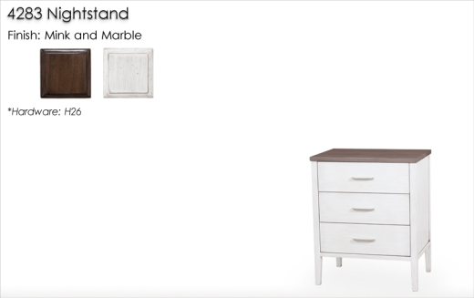 Lorts 4283 Nighstand finshed in Mink and Marble