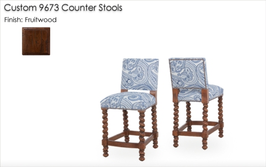 Custom 9673 Counter Stools finished in Fruitwood