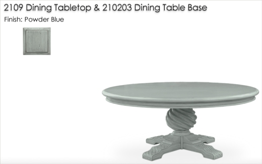 Lorts 2109 DIning Tabletop and 210203 Dining Table Base finished in Powder Blue