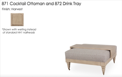 Lorts 871 Cocktail Ottoman with 872 Tray finished in Harvest