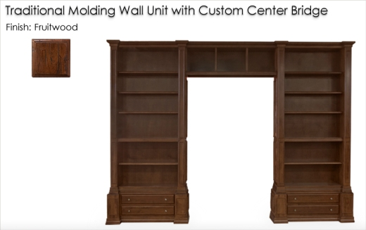 Custom Traditional Moldiong Wall Unit finished in Fruitwood