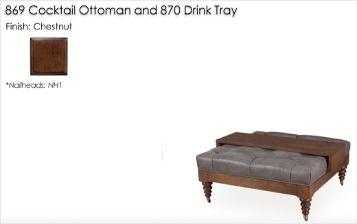 869 Coctail Ottoman finished in Chestnut