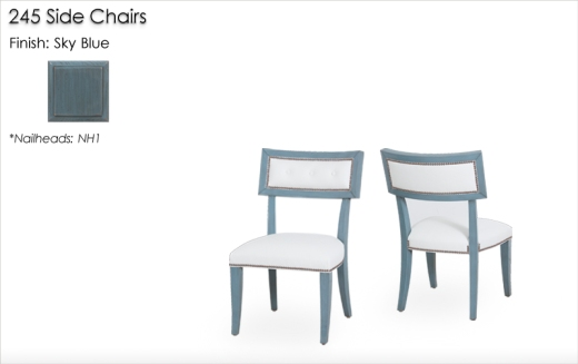 245 Side Chairs finished in Sky Blue
