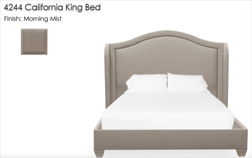 42244 California King Bed finished in Morning Mist