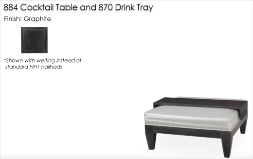 884 Cocktail Ottoman and 870 Drink Tray finished in Graphite