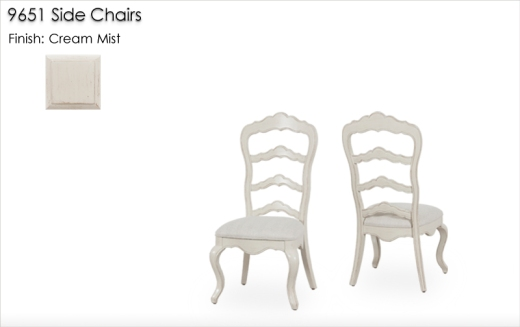 9651 Side Chairs finished in Cream Mist