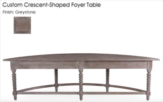 Custom Foyer Table finished in Greystone