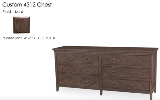 Custom 4312 Styled Dresser finished in Mink